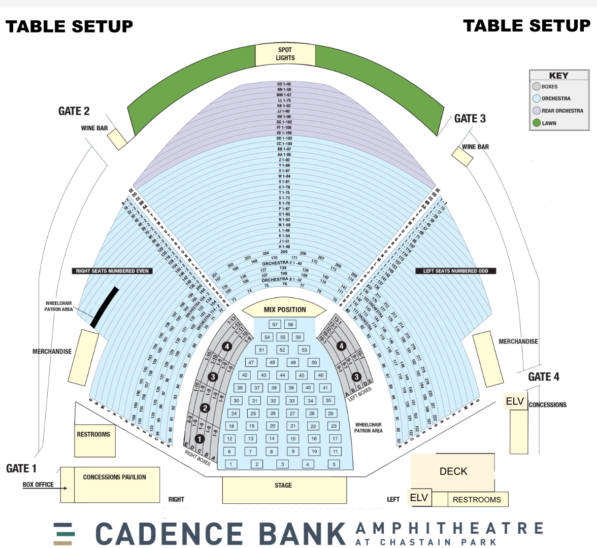 Cadence Bank Amphitheatre Seating Chart